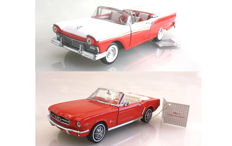 Franklin Mint - Scale 1/24 - Ford Mustang 1964 1/2 and Ford Fairlane 500 Skyliner 1957