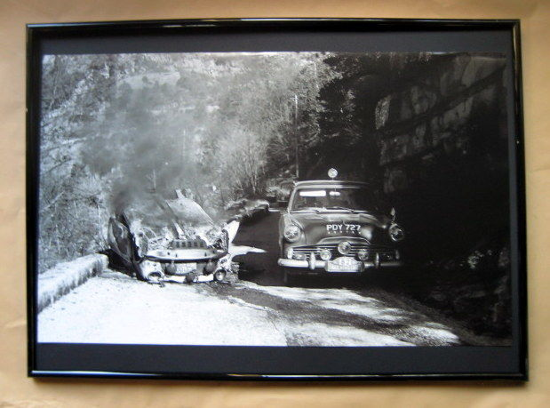 Framed Nostalgic Poster : Aaltonen/Mabbs - Mini Cooper S (100) Petch/Miller - Ford Zodiac (82) - Ralleye Monte Carlo 1962