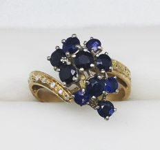 Grape ring with Sapphires and Diamonds - 5.04 g - Size 19.2 mm/FR 60