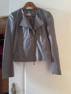 Taupe leather Perfecto jacket size 38 Patrizia Pepe