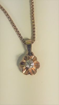 Gold 14K necklace and pendant with 0,09ct diamond, 42 cm *** No Reserve ***