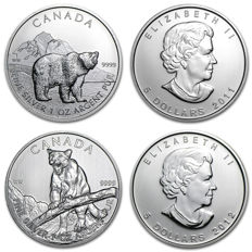 "Canada - 5 dollars 2011 ""Grizzly"" + 5 dollars 2012 ""Puma"" - 2 x 1 oz of silver"