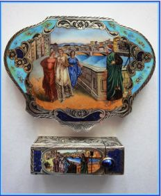 "Rare Italian Sterling Vermeil compact/box & matching  lipstick set featuring ""Dante & Beatrice"" painting by Henry Holiday (1883)"