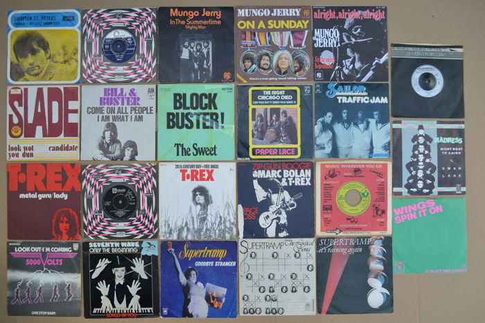 nice lot of 23 glam/pop/rock/beat singles from 60's & 70's UK bands/artists