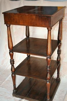 Late 19th century etagere desk, with fold down top and card drawer