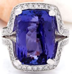 15.20 Carat Tanzanite And Diamond Ring In 14K Solid White Gold Ring Size: 7 *** Free shipping *** No reserve *** Free resizing ***