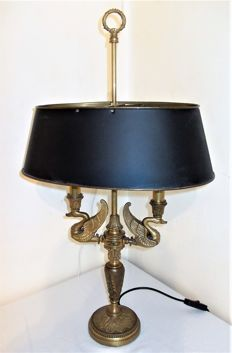 A bronze empire style Bouillotte lamp, France, circa 1970