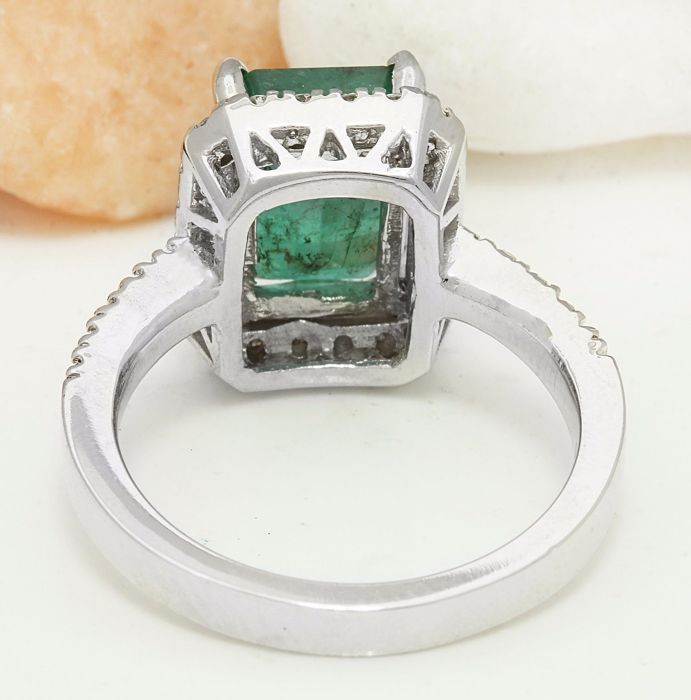 carat emerald 14k solid white gold diamond ring. Black Bedroom Furniture Sets. Home Design Ideas