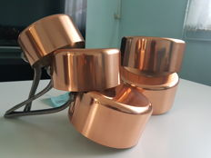 "Kitchen set, 5 copper cooking pans from Alsace, tinned, stamped ""Made in France"""