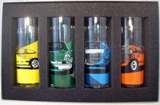 Porsche Long drink glass set - Porsche 911 Carrera 2.7 Orange/Yellow/Green/Blue