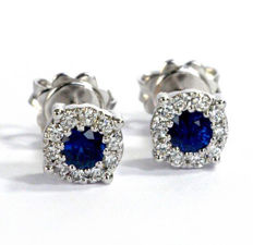 Magic Earrings with Diamonds, 0.25 ct G VVS, and Sapphires, 0.70 ct
