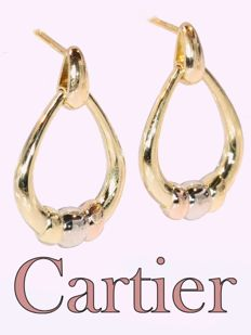 Vintage Cartier 18 kt tricolor gold earrings anno 1980 - L 2,6 cm (1,023 inch) x W 1,5 cm (0,590 inch)