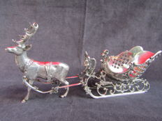 Silver table piece: reindeer and sleigh, the Netherlands, 2nd half 20th century
