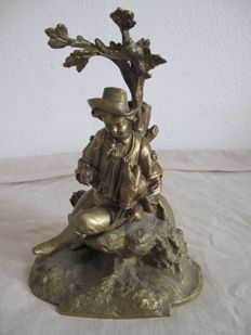 Pretty statue in gilded bronze - bagpipe player - France 19th century