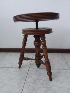 Oak piano stool inlaid with leather - 1st half 20th century