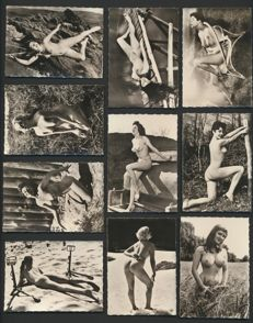 Photo; Lot with 10 mini-sized nude photos - 1950s