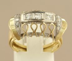 14 kt Bicolour gold ring set with brilliant and single cut diamonds, approx. 0.20 ct in total, ring size 18 (57)