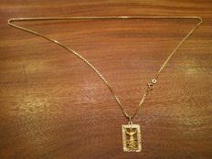 Necklace with pendant in 18 kt gold. 22.5 g  60 cm