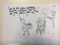 Tol, Jean-Marc van - Original illustration for a birthday card #2 - Fokke & Sukke