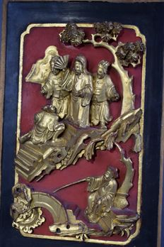 Panel with woodcarving - China - approx. 1900