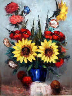 Jan Kelderman (1914-1990) - Stilleven met bloemen en fruit