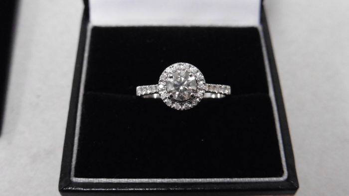 18k Gold Diamond Set Solitaire Ring - 0.40ct / 0.25ct  J, SI2 - size 51