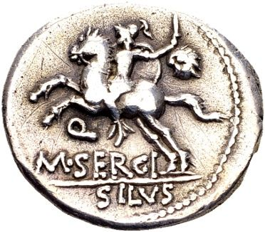 Roman Republic - silver denarius of Quaestor M. Sergius Silus, struck in Rome, 116 or 115 B.C.