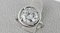 2.45 ct   round diamond ring 18 kt gold - size 5.5