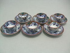 Societe Ceramique - Timor - 6 small bowls with saucers