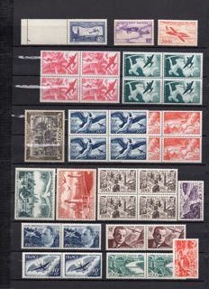 France 1946-1950 - Airmail includes Calves digital certificate - Yvert PA 16-29, 32 and 6a.