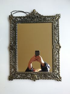 Solid brass Italian hall mirror, Italy, mid 20th century