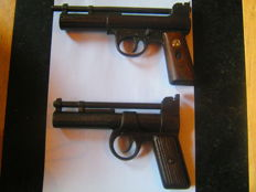 very rare Webley Senior Mark I Air Gun & Rare Mk1 webley junir with tin plate grips