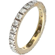 14 kt yellow gold eternity ring set with 26 round, brilliant cut diamonds, approx. 0.02 ct each - Ring size 15.75 mm