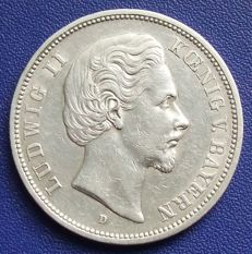 German Empire, Bavaria - 5 mark 1874 D - silver