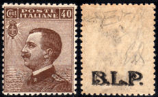 Italy, Kingdom 1922 - 'B.L.P.' 40 cents dark brown with overprint on the back - Sass.  No. 9Ad