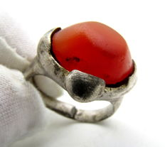 Silver Saxon Era Ring with Red Carnelian Gem / Stone in Bezel - 19mm