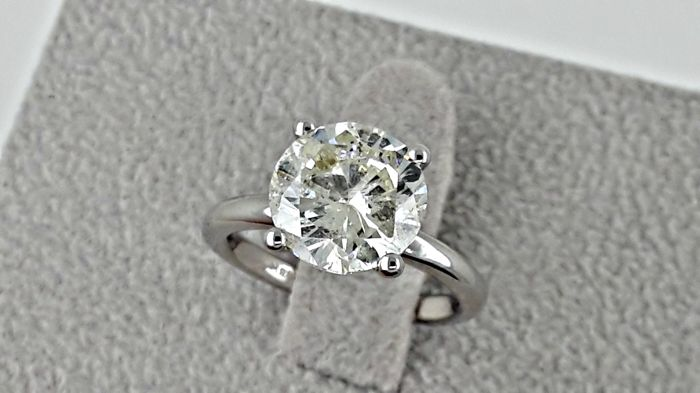 3.02 ct   round diamond ring 18 kt gold - size 5
