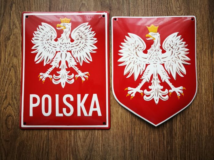 Beautiful set - enamel sign Polish national emblem and enamel polish border sign - end of XX century