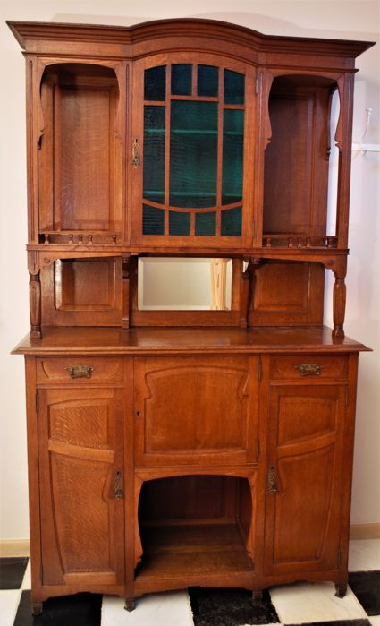 art nouveau oak buffet catawiki. Black Bedroom Furniture Sets. Home Design Ideas