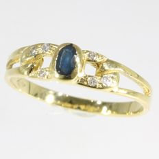 Sapphire and diamond braided gold ring- Ring size: EU-56 & 17¾, USA-7½, UK-O½ Free resizing!*