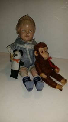 A 'perfect' antique Doll - probably England - Chuco monkey - Germany - Celluloid panda bear - Japan