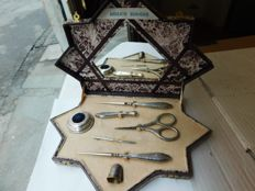 Silver sewing or embroidery set, Italy, 1920