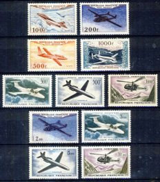 France 1954-1964 - Airmail - Three prototypes series - Yvert PA 30-33 and 35-41.