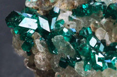High quality Dioptase crystals on matrix - 4 X 3.9 X 3.6 cm - 57 gm