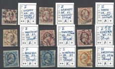 Netherlands 1852 – first emission Willem III, 9 all postal stamps with Halfrond cancellation