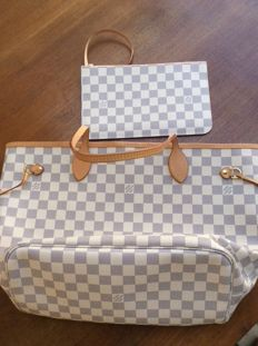 Louis Vuitton – Neverfull MM Lona Damier Azur (Rose Ballerine) – Collection 2017 – As New