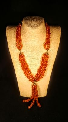Vintage ca. 1960's 100% natural old aged cognac colour Baltic Amber necklace, 119 grams