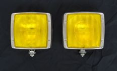 Set of separate spotlights, yellow, in square chrome casing