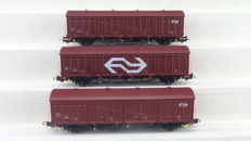 Hobbytrade H0 - 33303 - Three 2-axle sliding roof cars type hbis of the NS