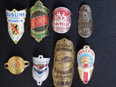 Collection of 8 Nice Bicycle Head Badges, Balhoofdplaatjes. with some Rare oa - Goodyear Birmingham en andere